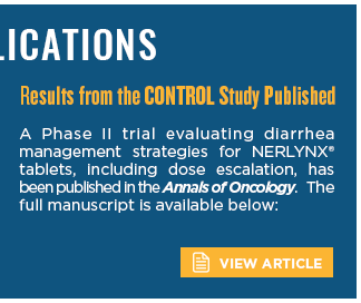 A Phase II trial evaluating diarrhea management strategies for NERLYNX® tablets, including dose escalation, has been published in the Annals of Oncology.  The full manuscript is available below:
